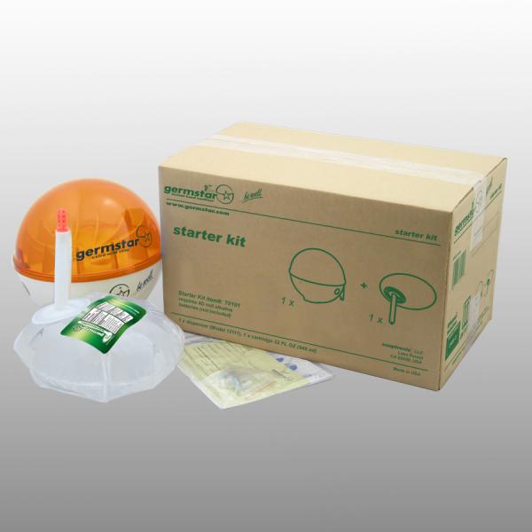 Germstar® Desinfektionsspender Starter Kit weiß-orange Citrus