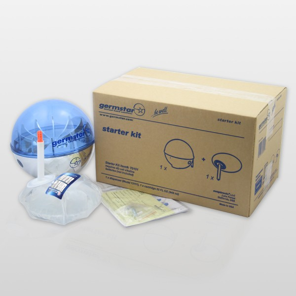 Germstar® Desinfektionsspender Starter Kit chrom-blau Original